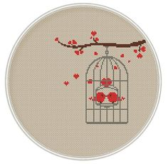 Bird in cage cross stitch pattern Instant by MagicCrossStitch
