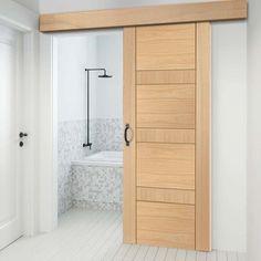 Thruslide Surface Latina Oak Flush Panel - Sliding Door and Track Kit - Lifestyle Image. Sliding Pocket Doors, Contemporary Doors, Door Design Interior, Bathroom Doors, Latina, Wooden Doors, Traditional, Lifestyle, House