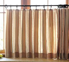 Max Stripe Cafe Curtain For Powder Room