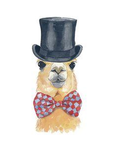Llama Watercolor PRINT - Illustration Print, Top Hat, Bow Tie, Llama Art, 8x10 Painting Print