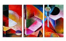 Vibrant Abstract Triple-Split Triptych Canvas Wall Art Picture 36x20 inch