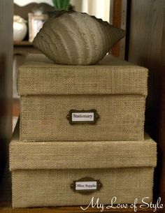 Wrap shoe boxes in burlap for customized organization!