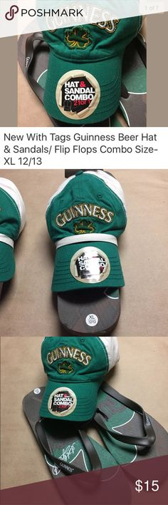 Guinness Flip Flops & Hat combo New with tags. Official Guinness product - Guinness Flip Flops and Hat combo. Flip flops: Size- XL (12/13) Hat: One Size fits most (adjustable Velcro strap)  New with tags. These DO NOT come with any boxes they were purchased as pictured (They never did come with a box). Guinness Shoes Sandals & Flip-Flops