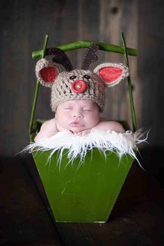 Baby Red Nosed Reindeer Hat, Newborn Photography Props