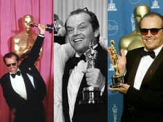 """Jack Nicholson with his three Oscar's:  Best Supporting Actor 1983 for """"Terms of Endearment,"""" Best Actor 1975 for """"One Flew Over the Cuckoo's Nest"""" and Best Actor 1997 for """"As Good as it Gets."""""""