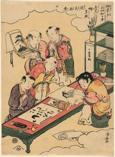 Torii Kiyonaga: Great Hit! Said the Children, after Seeing Popular Picture Books, and They Imitate the Subjects for TheirPlay, Calligraphy, and Painting (Yodo iu koitsu wa Nippon, Ezoshi wo mite yori sono gwai wo asobu) - Art Institute of Chicago