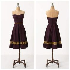 "Anthro 'AUBERGINE SKY DRESS' Golden embroidery lends just enough light to discern the subtle gardens on this strapless beauty. By Girls from Savoy.  Back zip  Cotton  Machine wash  34.5""L Anthropologie Dresses"