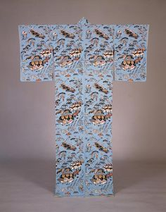 "SERIZAWA, Keisuke   1895 - 1984  Kimono, ""Naeshirogawa village"", stencil dyeing on crepe silk, 1958"
