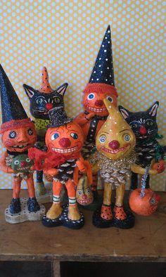 Fun whimsical Halloween folk art
