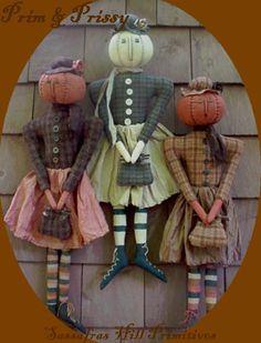 PDF  E Pattern INSTANT DOWNLOAD Primitive Pumpkin Snowball Head Dolls by…