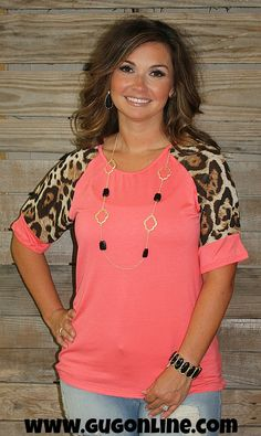 Far From Simple Coral Tee with Cheetah Sleeves www.gugonline.com $19.95