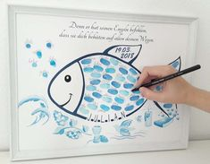 Tauffish Fingerprint Fish Baptism-Baptismal Gift-Gift Personalized for Poster Tauffisch Fingerabdruck Fisch Taufe Geschenk Gästebuch Cadeau Communion, Communion Gifts, Color Symbolism, Selling Handmade Items, Presents For Girls, Baptism Gifts, Colored Highlights, Book Girl, Snowman