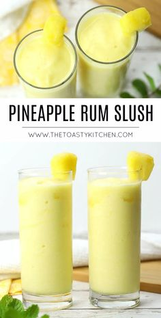 Pineapple Rum Slush - The Toasty Kitchen #pineapple #pineappleslush #rumslush #summerdrinks #summerdrinkrecipes #slushcocktails #slushie