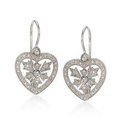 Diamond Heart Drop Earrings in Sterling Silver. An ornate, yet wonderfully affordable pair of lovely earrings. #valentinesday Click the earrings to see more Heart Earrings