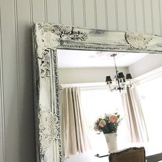 Mirror Shabby Chic Mirror Bathroom Vanity Mirror Rustic French Baroque Mirror Wall Mirror Ornate Mirror Custom Colors Available by HallstromHome on Etsy