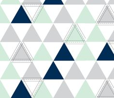Hamptons Triangles - Mint fabric by tycbabyboutique on Spoonflower - custom fabric