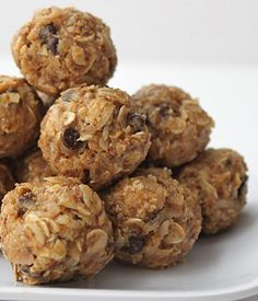 Crunched No-bake Energy bites  What you'll need:  • Oatmeal  • Peanut butter (or other nut butter)  • Honey  • Coconut flakes  • Ground flaxseed  • Mini chocolate chips  • Vanilla - Could do for a quick breakfast food!