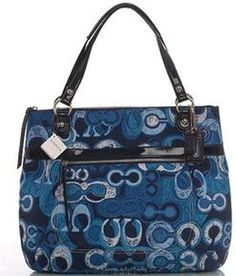 Coach Limited Edition Poppy Glam Shopper Bag Purse Tote 19881 Denim Blue * Visit the image link more details.
