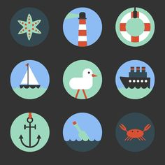 9 nautical elements icons - vector graphics