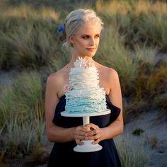 "Sweet Deer Hand-Painted Cakes on Instagram: ""Baby blue ombré ruffles ..that lighting.. that model.. ."" Hand Painted Cakes, Blue Ombre, Baby Blue, Fondant, Ruffles, Deer, Flower Girl Dresses, Fancy, Lighting"