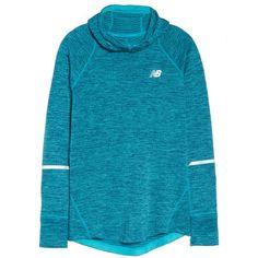 Women's New Balance Wt73220 Hoodie (110 CAD) ❤ liked on Polyvore featuring tops, hoodies, pih, hooded pullover, new balance tops, hooded sweatshirt, blue hoodie and blue hoodies