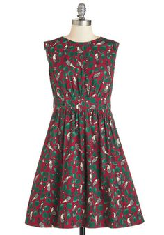 Too Much Fun Dress in Scarlet Birds by Emily and Fin - Woven, Print with Animals, Print, Casual, Bird, Woodland Creature, A-line, Sleeveless, Fall, International Designer, Variation, Mid-length, Red, Green