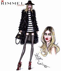Hayden Williams Fashion Illustrations: Fashion & beauty look for Rimmel London LFW day 1