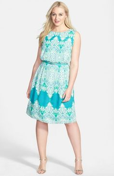 Adrianna Papell Print Belted Sleeveless Crepe De Chine Dress Plus Green Multi 24w | Clothing