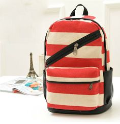 bd59114224 2014 stripe backpack students backpack school bag canvas backpack free  shipping  21.00