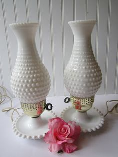 Vintage Milk Glass Hobnail Lamp Pair. Reminds me of my grandmother and I want a pair just to sit in my bedroom