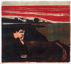 "Edvard Munch, Melancholy I, 1896, woodcut, Munch Museet, Oslo - exhibition ""Munch et la France"" musée d'Orsay, 1991"