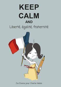 #liberté #égalité # fraternité  dessin de Zia Eloona pour #CharlieHebdo