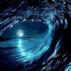 Ocean moon seen through the waves. No Wave, Moon Pictures, Pretty Pictures, Cool Photos, Ocean Pictures, Shoot The Moon, Beautiful Moon, Ocean Waves, Blue Moon