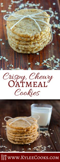 These crispy chewy oatmeal cookies are my absolute ideal cookie. Crisp, with a slight chew, lots of vanilla, and butter and EASY to make!(Baking Cookies And Shit) Easy Cookie Recipes, Cookie Desserts, Fun Desserts, Delicious Desserts, Dessert Recipes, Yummy Food, Oatmeal Cookie Recipes, Brownie Cookies, Yummy Cookies