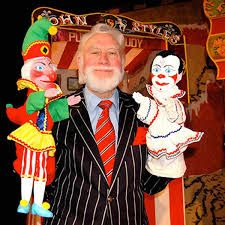 Bryan Clarke with two of his wonderful puppets.