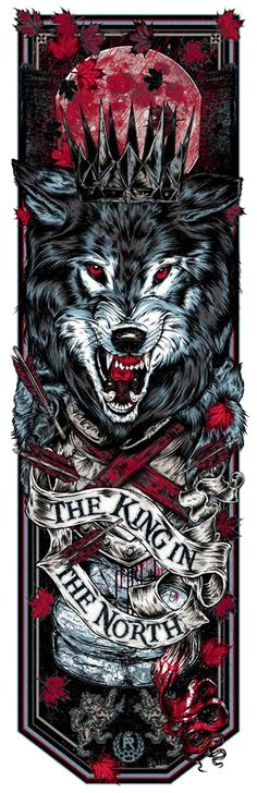 Cool Art: 'Game Of Thrones - Call Of The Banners' 'The King In The North' by Rhys Cooper Robb Stark Grey Wind #got #asoiaf