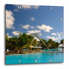 3dRose Swimming pool at Le Mauricia Hotel, Grand Baie, Mauritius., Wall Clock, 13 by 13-inch