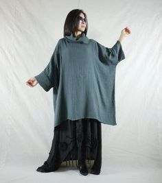 Oversize Cowl Neck Blueish Dark Grey Double by beyondclothing