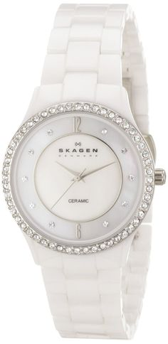 watch |  Women white watch  Skagen Women's 347SSXWC Katja Quartz 3 Hand Ceramic White Watch