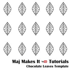 This template helps with making chocolate leaves. Use under parchment paper and … This template helps with making chocolate leaves. Use under parchment paper and use wilton candy melts. super easy to do ! Royal Icing Templates, Royal Icing Transfers, Cake Templates, Chocolates, Iced Cookies, Royal Icing Cookies, Wilton Cake Decorating, Cookie Decorating, Chocolate Template