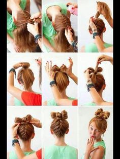 3 New Ways to Add Hair Bows to Your 'Do French braid hair bow - Karma's request for crazy hair day :) Wedding Hairstyles Tutorial, Pretty Hairstyles, Cute Hairstyles, Bun Hairstyle, Amazing Hairstyles, Halloween Hairstyles, Braid Hairstyles, School Hairstyles, Hairstyle Ideas