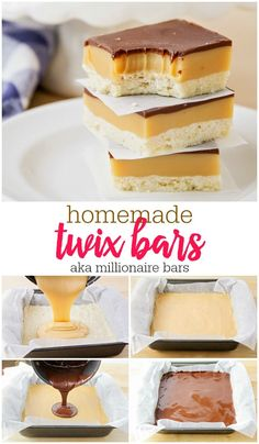 homemade twix bars These millionaire bars have a perfectly crumbly crust, an ooey gooey caramel middle, and a thin layer of delicious semi-sweet chocolate on top. They definitely earn their name! Twix Cookie Bar Recipe, Twix Cookies, Yummy Cookies, Cookie Bars, Cookie Recipes, Bar Cookies, Köstliche Desserts, Delicious Desserts, Dessert Recipes
