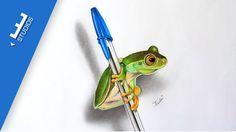 Desenho de sapo sobre caneta | Frog drawing on pen