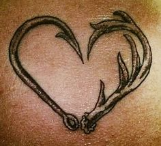 Love fishing hunting tattoo fish hunt hook antler
