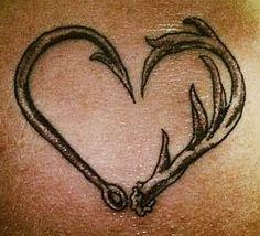 Love fishing hunting tattoo fish hunt hook antler