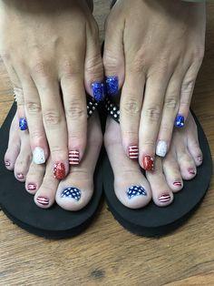 of July Patriotic mani pedi Mani Pedi, Manicure, Foot Pedicure, Patriotic Nails, 4th Of July Nails, Fashion Hub, Gel Nail Designs, Pedicures, Toe Nails
