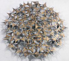 "Mid-Century Modern Brutalist Marc Creates Metal Wall Sculpture 35"" Diameter"