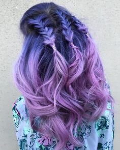 Per capelli Clip//Scorrimento oblunghi lilla e chiaro
