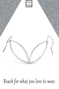 """Handmade marquis shaped hammered hoop dangles are for you ear wire dangle wearers. Light and comfortable with a hammered finish, these softened geometric shapes are carefree and good to go anywhere. They are graceful and shiny and made from sterling silver. Size: Total length including ear wire is 2"""", Hoop length is 1 1/2"""" and Width is 1/2"""""""