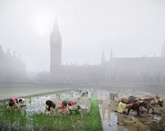 """Robert Graves and Didier Madoc-Jone imagined a London hit by climatic apocalypse for the """"London futures"""" exhibition"""